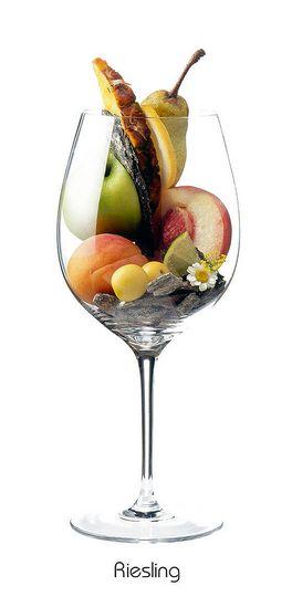 RIESLING: Apfel, Zitrone, Aprikose, Pfirsich, Mirabelle, Ananas, Birne, Limette, Gänseblümchen, Schiefer, Feuerstein