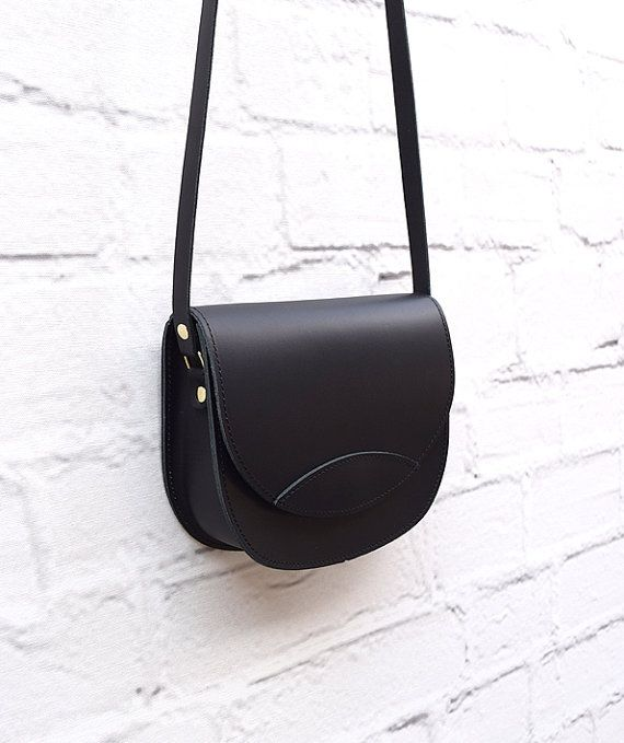 Black Leather BagOval Leather Bag Gift for Her Handmade