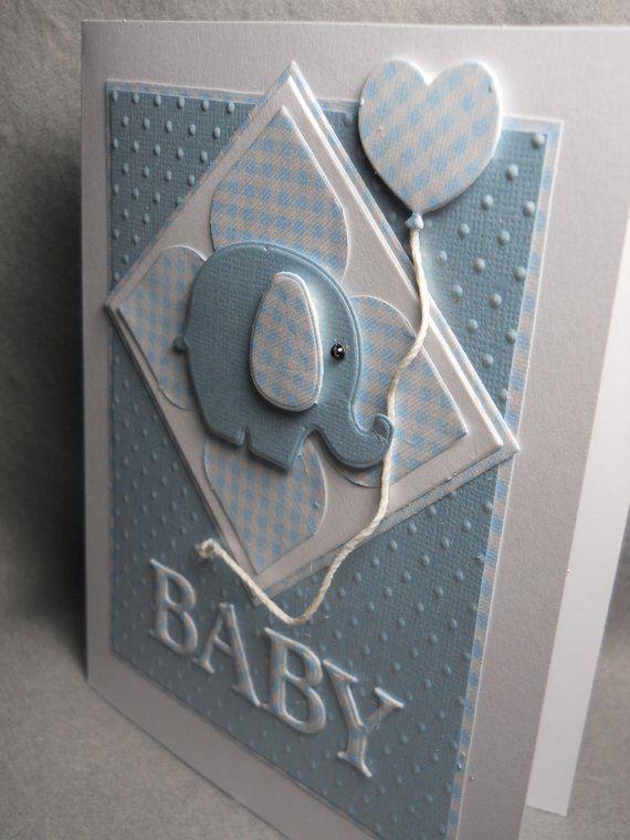 Carte bébé, bébé, nouveau bébé, bébé de bienvenue, carreaux bleus blancs, gaufrées …   – Basteln kinder