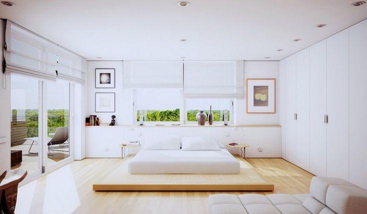chambre claire au design minimaliste et ambiance zen : lit bas, déco en tableaux et méridienne design