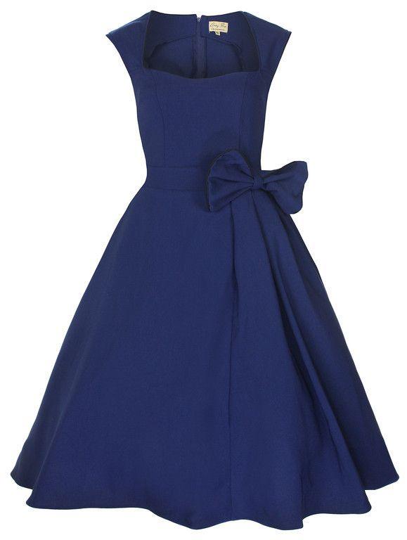 NEW CLASSY VINTAGE 1950's ROCKABILLY STYLE MIDNIGHT BLUE BOW SWING PARTY DRESS | eBay