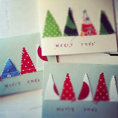 Weihnachtskarte Tannenbäumli mit Zickzackschere
