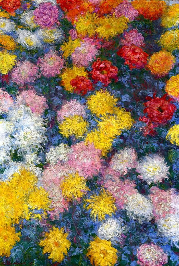 Crisantemos - Claude Monet (1840 - 1926) Óleo sobre lienzo. Chrysanthemums - Claude Monet (1840 - 1926) Oil on canvas.: