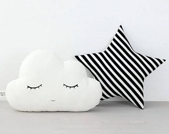 Set of cloud and star pillows, white cloud and black/white star, cloud cushion star cushion, kids room decor, kids pillows