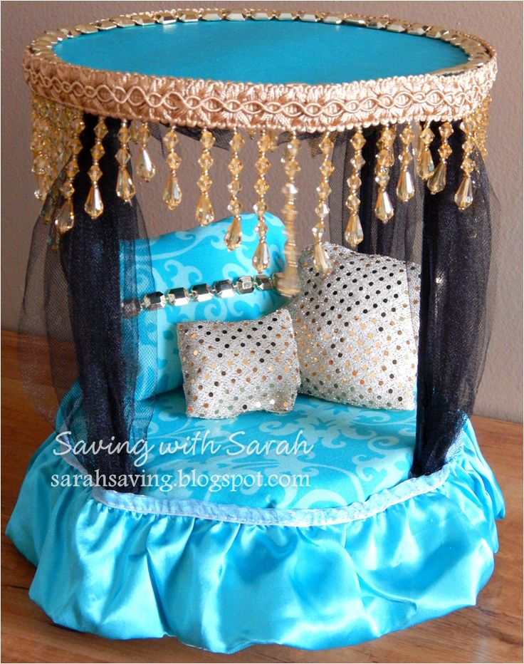 DIY Doll Furniture Canopy Bed #MonsterHigh for Monster High Cleo De Nile