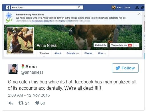"It was on Friday, 11th November 2016, that Facebook accidentally declared many of its live users (including Mark Zuckerberg) dead after which it fixed the problem and acknowledged for committing such a ""terrible error."""