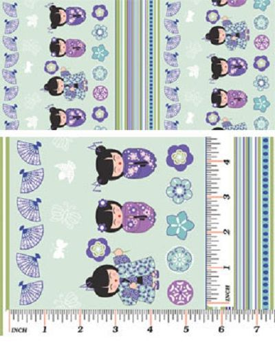 Benartex Fabrics - Cherry Blossom Festival - Turquoise Stripe - Cotton