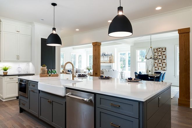 Farmhouse Style Home Inspired By Chip Joanna Gaines Home Bunch Interior Design Ideas Grey Kitchen Island Grey Kitchen Designs Modern Farmhouse Kitchens