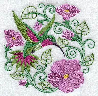 Hummingbird Paradise Free Machine Embroidery Design For