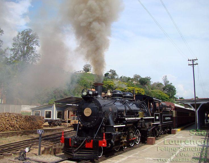 Locomotiva a vapor 1424 recuperada pela ABPF, em operação no Trem das Águas, da Regional Sul de Minas