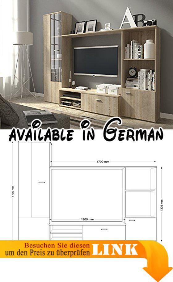 B01D8DN9KS : Wohnwand HUGO Anbauwand Wohnzimmer Möbel. Farbe: Sonoma Eiche.  Maße : Breite