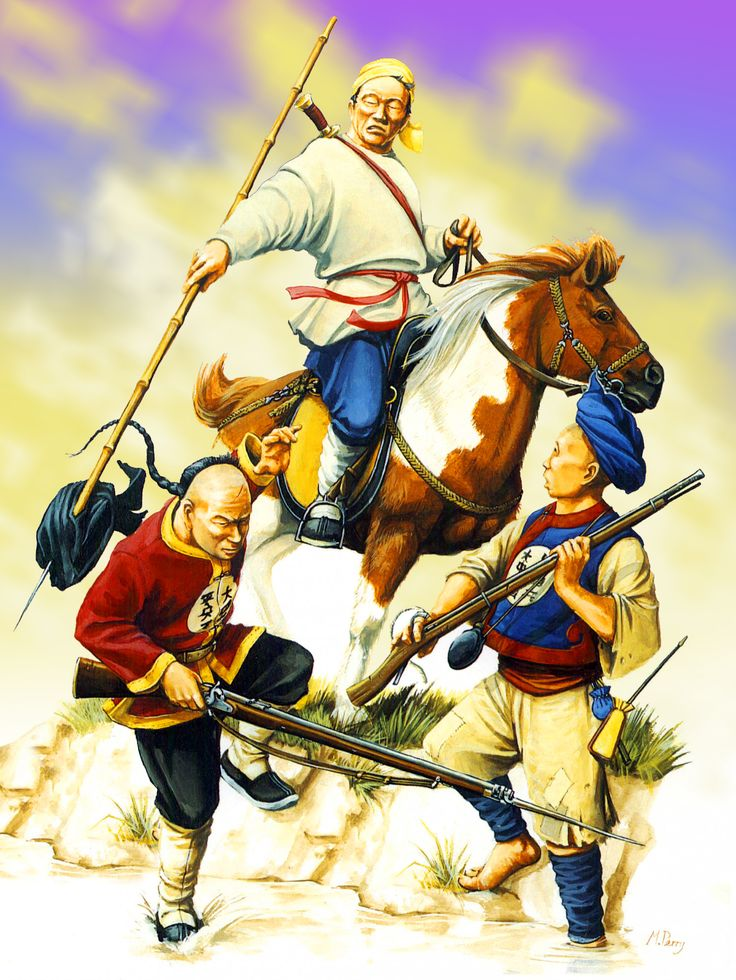 Nien-fei Mounted Taiping Bandit in combat against the Imperial Huai Army 'Braves' during the Taiping Rebellion, China