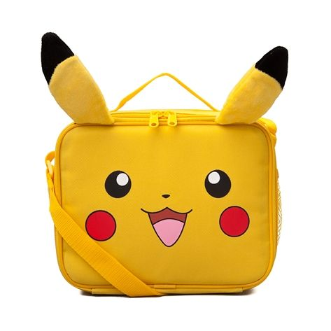 """Feast your eyes on the new Pokemon Lunch Bag! The Pokemon Lunch bag sports an awesome Pikachu face graphic with 3D plush ears and a roomy insulated interior.     Features include   Polyester exterior with plush Pikachu ears   Mesh side pocket   Adjustable webbed shoulder strap   Zip closure   Insulated interior   Dimensions W 10"""" x D 3"""" x H 8"""""""
