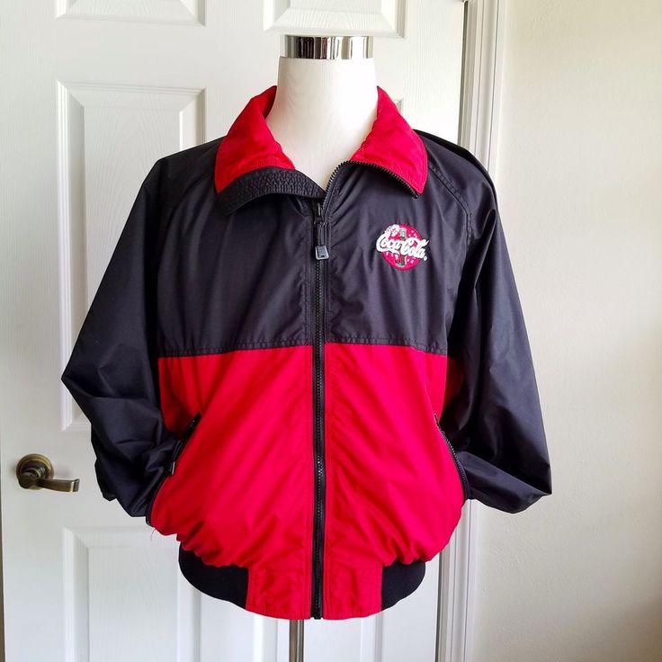 Vintage Coca Cola Driver's Jacket Wear Guard Large Red Black Nylon Coke Size L  #CocaColaWearGuard