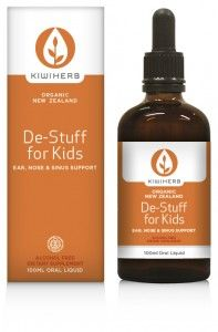De-Stuff for Kids  Made from organic herbs, is alcohol free and has no artificial additives. Good for colds and allergies. Helps with congestion and soothing and clearing the nose and sinuses. Suitable for infants and children of all ages. It can be purchased from some Pharmacies and Online from http://www.kiwiherb.co.nz