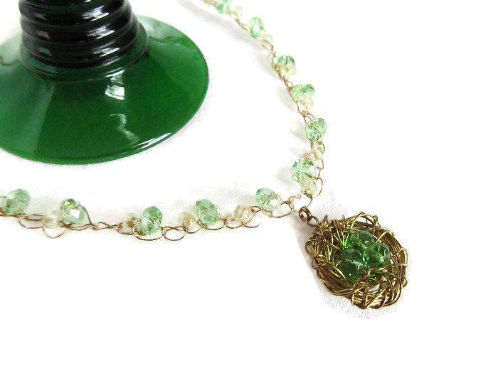 Peridot Crochet Wire Bird Nest Necklace Virgo Birthstone Necklace Green Gold Beaded Necklace Wire Wrapped August Pendant (28.99 USD) by FrivolousFunBoutique