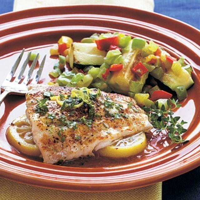 Red Snapper with Herbed Butter:  http://www.gourmetdinnersinaflash.com/lemon-red-snapper-with-herbed-butter.html