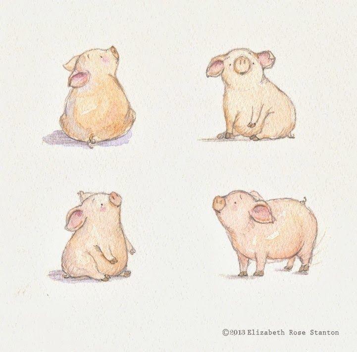 Piggie Sketches_Ekizabeth Rose Stanton