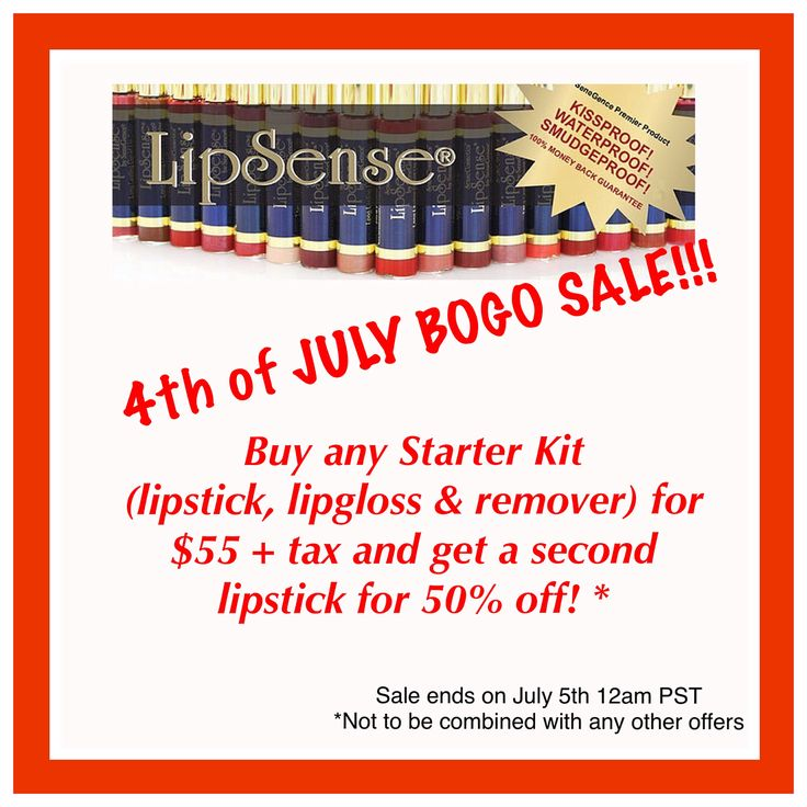 Today marks the start of my 4th of July BOGO SALE!!! Buy a starter kit and get a second color for 50% off! Sale ends 12am PST on July 5th. Now is the perfect time to order if you've been waiting to try Lipsense or if you just want to stock up on some new colors and glosses! You can tell me what colors you want or I can help you choose a color that would work well with your style, skin tone and lip color. See my current stock below (in stock but not pictured: Lexie Beary and Bougainvillea…