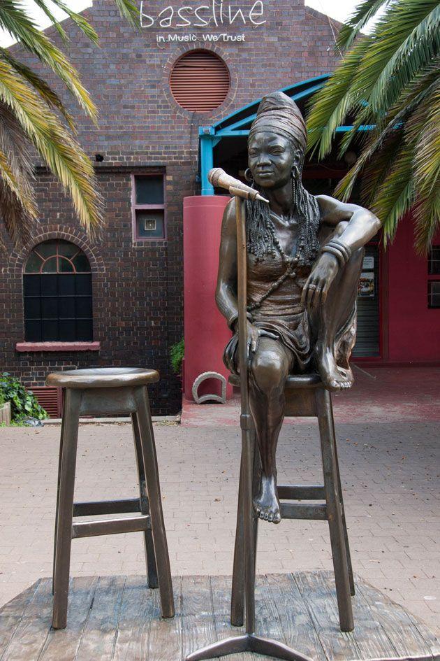 The Brenda Fassie statue outside Bassline in Newtown.