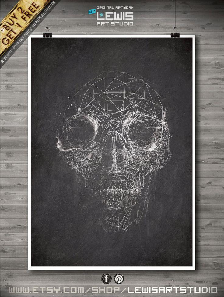 Skull poster, Skull patent, Skul print, Skull Art, Skull Man Cave Decor  no104