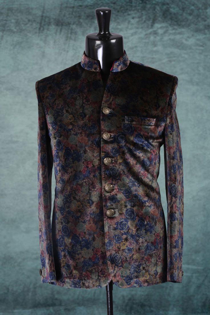 #Blue multicoloured alluring printed #velvet jodhupuri #suit with #chinese collar-ST298