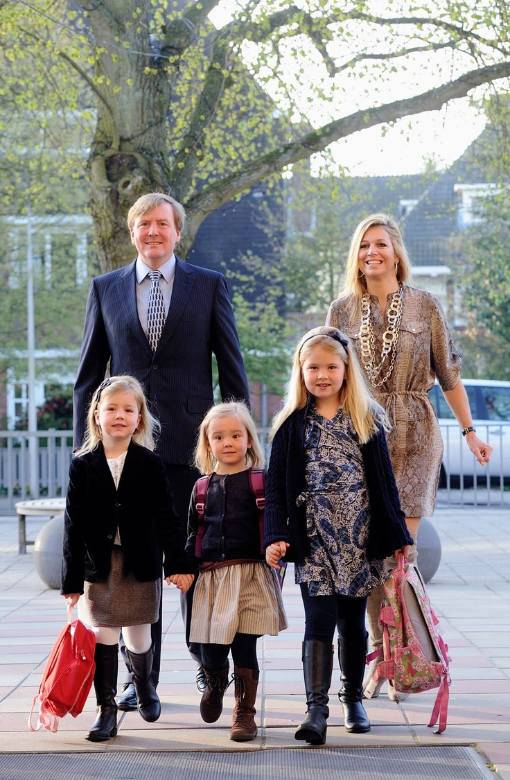 The Dutch Princesses:  Ariane's First Day of School--Crown Prince Willem-Alexander and Crown Princess Maxima with Princesses Alexia, Ariane, and Catharina Amalia