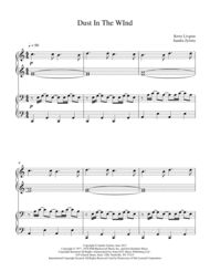 """""""Dust In The Wind"""" was written by Kevin Livgreen, a member of the band Kansas. This great classic soft rock song is usually opened with a guitar. The secondo part in this 1-piano 4-hand duet generally mimics the guitar while the primo part has the melody. This piece is arranged in the keys of C and D. (Approximately 3 minutes, 7 pages) You can look at other arrangements by Sandra Zylstra on Sheet Music Plus: http://www.sheetmusicplus.com/formats/singles/sandra-zylstra/600092+3001855 and at…"""