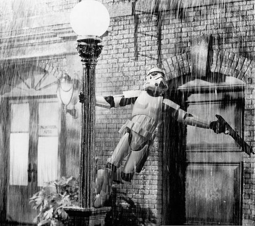 A stormtrooper singing in the rain.