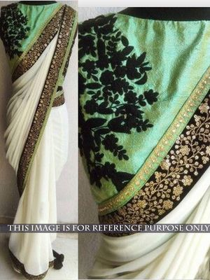 NEW LATEST WHITE COLOR GEORGET EMBROIDERY WORK SAREE Sarees on Shimply.com