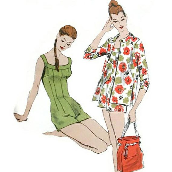 Vintage 1950s Bathing Suit & Jacket  Pattern One by sydcam123