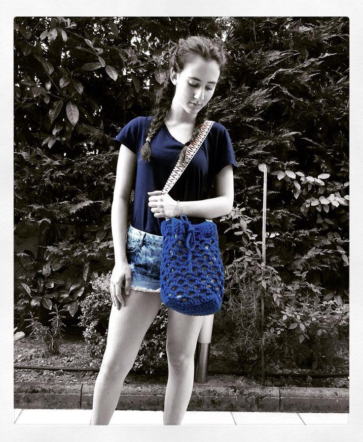 Handmade crochet bucket bag, lined Strap: 85 cm Color…