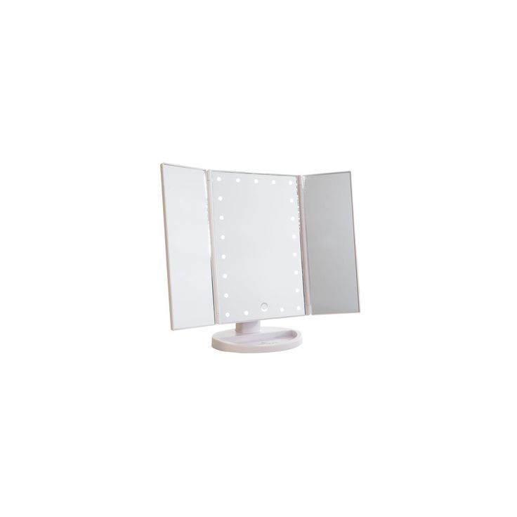 Touch 3.0 Trifold Dimmable Led Makeup Mirror, White