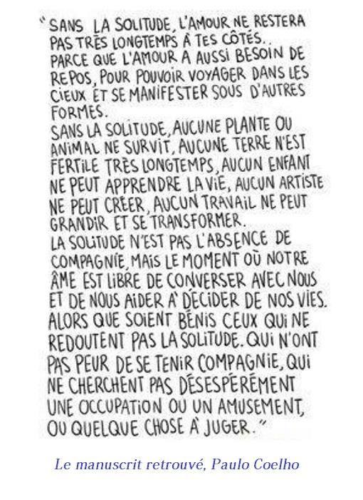La solitude - Paulo Coelho, Le manuscrit retrouvé