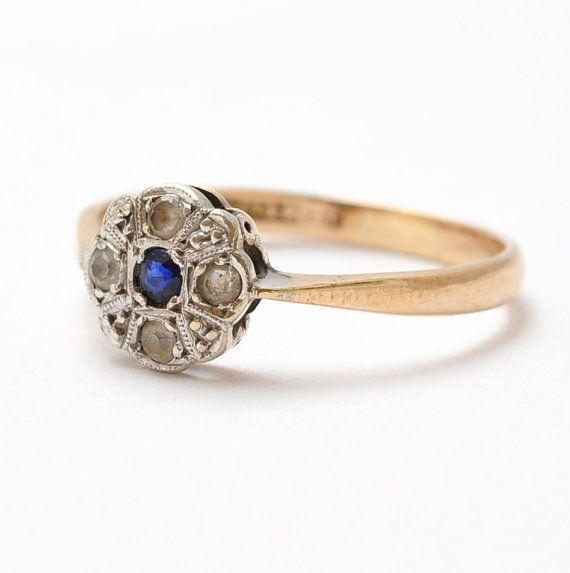Art Deco Sapphire Gold Platinum Daisy by BlueRidgeNotions on Etsy, $205.00