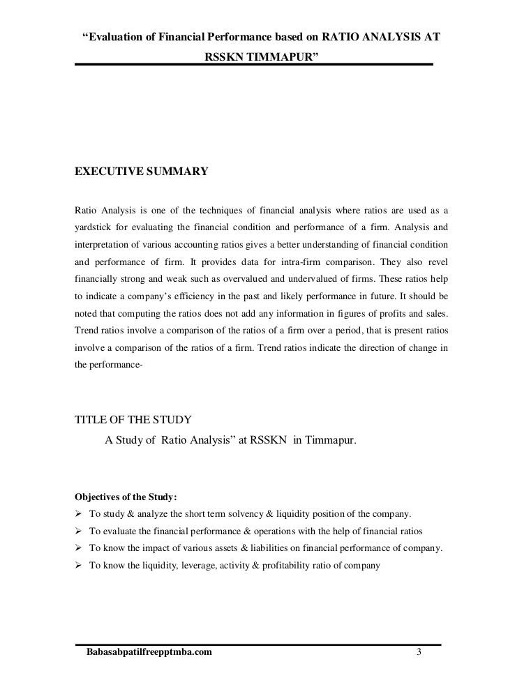 a project report on evaluation of financial performance before - project report