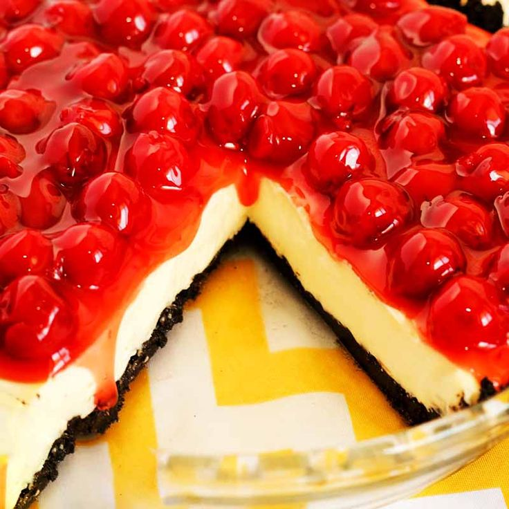 For this cherry recipe dessert of cherry cream cheese pie, there is no baking except for the crust unless you purchase a premade crust in