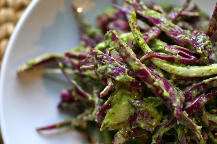 Yuuuummmm!Tasty Recipe, Bobby Flay, Flay Recipe, Cabbages Slaw, Spicy Green, Red Cabbages Salad, Savory Recipe, Healthy Food, Green Onions