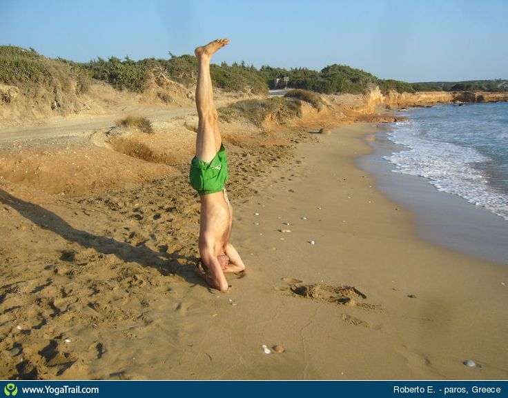 "#Yoga Poses Around the World: ""Sirshasana in Paros Beach, Greece"""