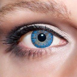 Blaue Kontaktlinsen farbige hellblaue Linsen von KwikSibs, Kristallblaue 3-farbig auch mit Stärken