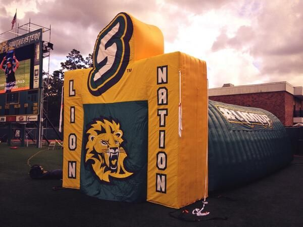 Southeastern Louisiana University's #inflatable sports tunnels #lionup #lionnation