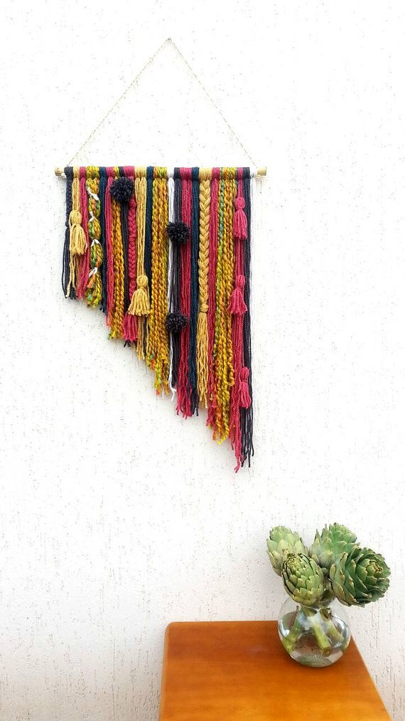 Yarn tapestry, Bohemian Decor Wall Hanging, Wall Tapestry, Yarn Mobile, Boho Gypsy décor, Unusual wall décor