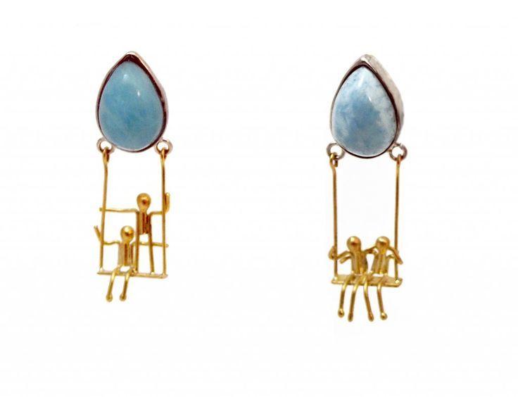 Asagi Maeda  ASAGI MAEDA SWINGS Earrings. Sterling silver, 18K gold, larimar