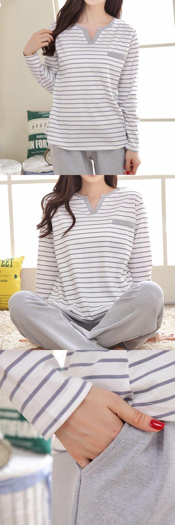 Comfy stripy cotton sleepwear sets two piece leisure home wear for women  turkish fashion sleepwear #clementine #sleepwear #and #robes #lati #fashion #sleepwear #sleepwear #pajamas #and #robes #womens #sleepwear #robes #sale