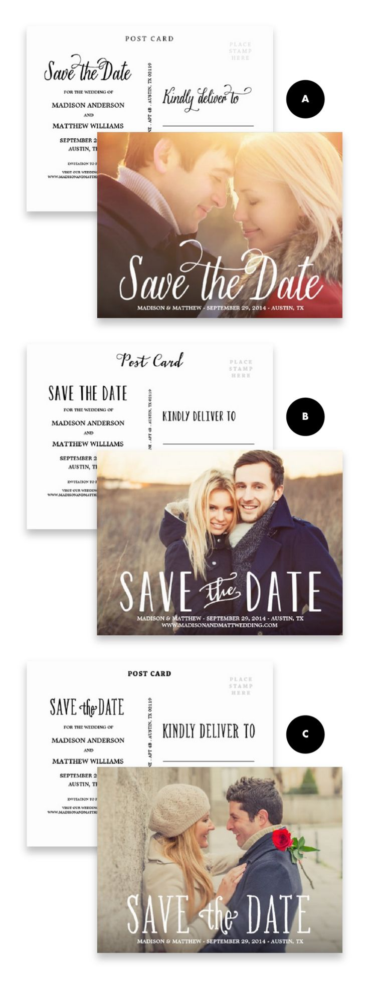 Save the Date Postcards like the set up of return address in the middle and the kindly deliver to