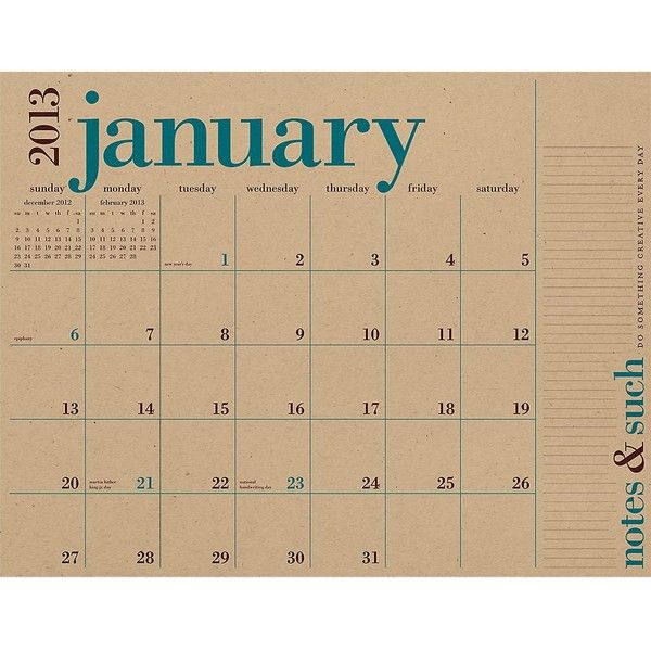 2013 Paper Source Academic Great Big Wall Calendar ($14) ❤ liked on Polyvore