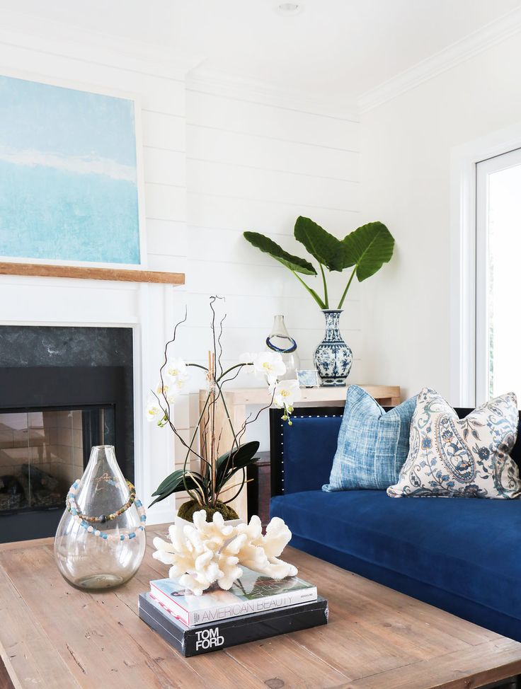 Coastal Living Room With A Blue Sofa