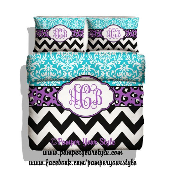 Damask, Chevron and Leopard Bedding  -  Personalize with Name or Monogram - Pick Your Color and Size - Create My Own Bedding on Etsy, $139.00