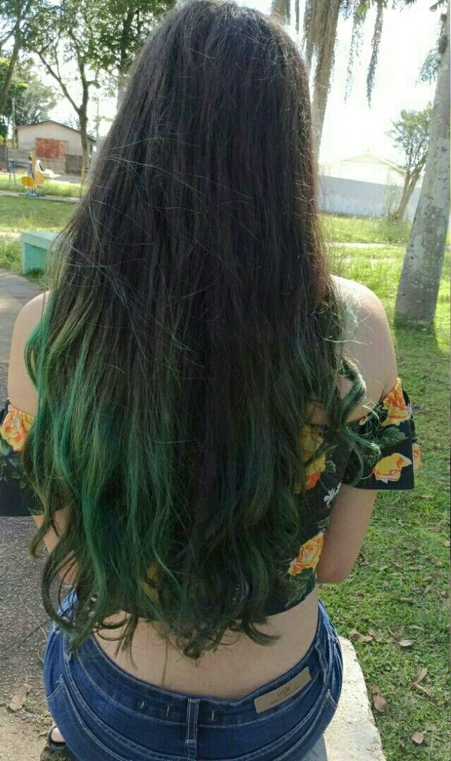 Long Dark Brown Hair With Green Tips Green Hair Green Hair Dye Brown Hair Dye