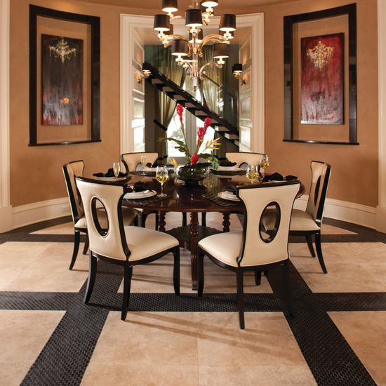 The New American Home Photo Features Mediterranean Ivory Travertine Honed With Stone La Mod In Nouveau Nero Marble Oval Mosaic On Floor